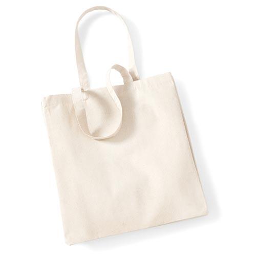 Canvas Classic Shopper aus schwerem Canvas-Stoff, Taschengröße 39x42x13cm, Volumen von 26 Liter, mit Boden- und Seitenfalte von Westford Mill in der Farbe Natur