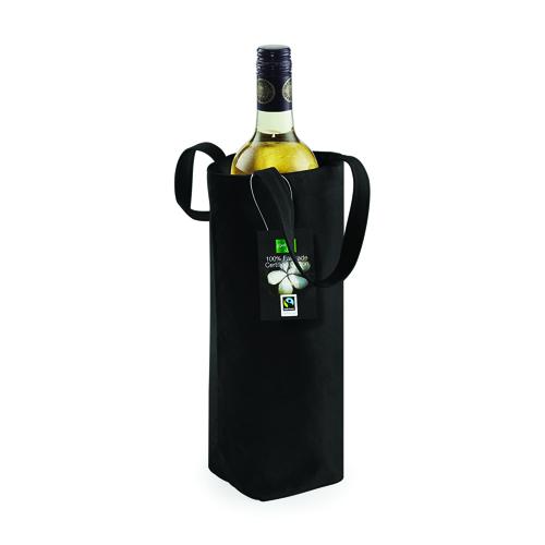 Canvastasche Bottle Bag Fairtrade, Flaschentasche in schwarz oder naturfarbend, von Westford Mill, mit einem Fassungsvermögen von ca. 1,5 Litern