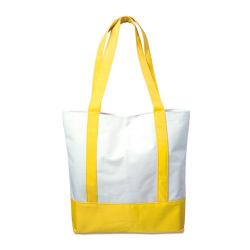 Einkaufstasche York mit farbigen Boden und farbigen langen Henkeln, die am Bodenelement befestigt sind. Großes Volumen für Einkäufe