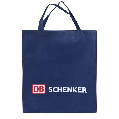 Vliestasche aus Polypropylen in der Größe 38x42 cm, mit kurzen Henkeln in Deep Blue mit Werbedruck. Reiss- und wasserfest. Günstige Werbetasche