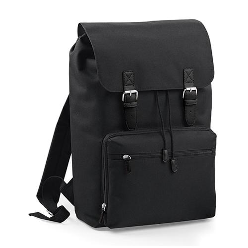 Vintage Laptop Backpack Rucksack von BagBase BG613 als Werbemittel bedruckt mit Logo bei taschenprint Schwarz