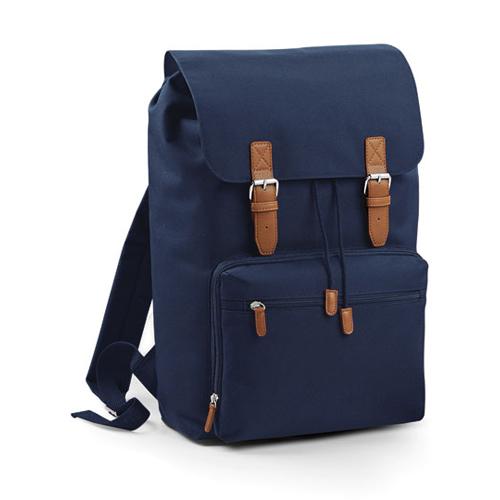 Vintage Laptop Backpack Rucksack von BagBase BG613 als Werbemittel bedruckt mit Logo bei taschenprint French Navy