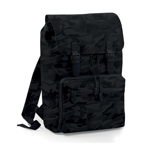 Vintage Laptop Backpack Rucksack Midnight Camo Black