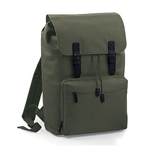 Vintage Laptop Backpack Rucksack Olive Green Black bedrucken bei taschenprint.de