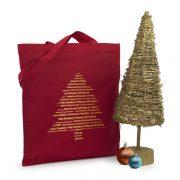 Weihnachtstasche Weihnachtsbaum aus Baumwolle mit langen henkeln bedruckt mit Weihnachtsmotiv Tannenbaum im silber oder gold
