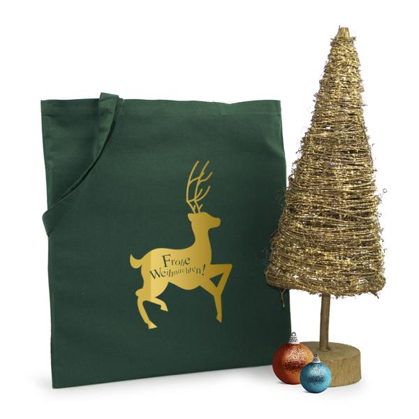 Weihnachtstasche Rentier Baumwolltasche in grün, rot, blau und schwarz mit dem Motiv Rentier gedruckt in gold oder silber