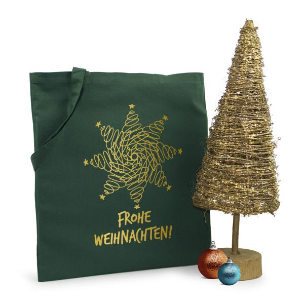 Weihnachtstasche Frohe Weihnachten Baumwolltasche mit dem Weihnachtsmotiv in silber oder gold bedruckt