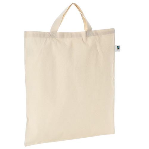 Bio Baumwolltasche kurze Henkel Fairtrade hochwertige 150g/m² BIO-Baumwolle, mit GOTS- und Fairtrade- Zertifikaten,nachhaltige umweltfreundliche Werbetasche bei taschenprint
