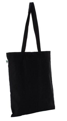 Bio Baumwolltasche Schwarz Fairtrade zertifiziert als nachhaltiger Werbeartikel bedrucken bei taschenprint.de