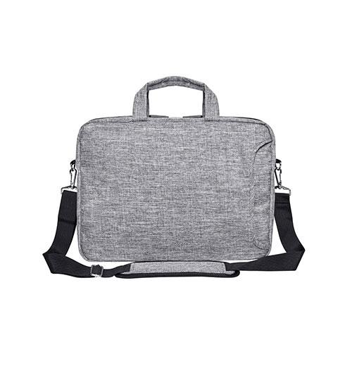Laptoptasche San Francisco in Grau-Melange, Tasche mit Reissverschluss, zusätzlicher Eingriff an der Front, schwarzer Tragegurt mit gepolstertem Schulterteil in Taschenfarbe und Tragegriffe in Taschenfarbe