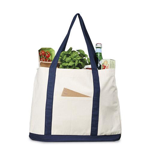 Canvas Shopper mit Aussentasche mit, Bodenfalte in Henkelfarbe, Tragegurte zur Stabilität an der Seite verlängert