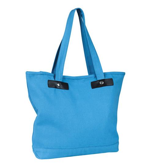 Canvas Shopping Bag Chic, modische Einkaufstasche in Sunset Pink, Ocean Blue und Black, aus Baumwoll-Canvas 340 g/m², mit Aufnähern aus Kunstleder, Volumen 15,7 Liter, von SOL`S
