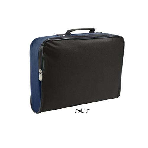 Businessbag College ist eine Businesstasche aus hochwertigem Polyester in schwarz mit Farbakzenten an den Seiten und oben. die Tasche kann bequem an der Front per Reissverschluss geöffnet werden