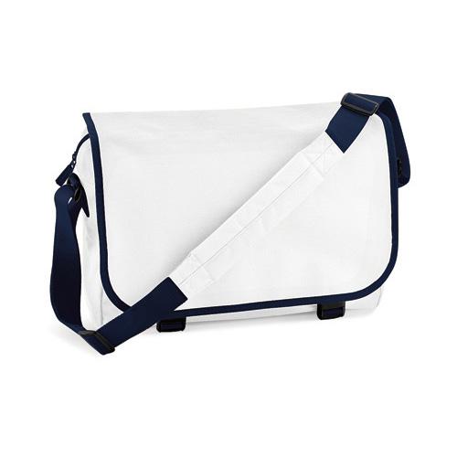 Messenger Bag von BagBase, Dokumententasche mit Überschlag, aus Polyester, gepolsterter Schultergurt aus Nylon, unter dem Überschlag an der Frontseite Stifthalter, Schlüsselhaken und Zip-Fächer, grosses Hauptfach für Unterlagen, Tablet etc.