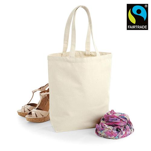 Fairtrade Camden Shopper Einkaufstasche von Westford Mill aus schwerem 407 g/m² Baumwoll-Canvas, zertifizierte Stofftasche zum bedrucken mit Logo in den Farben natur oder schwarz
