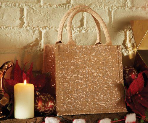 Jute MIni Gift Bag glänzend kleine Werbetasche aus Jute Innen laminiert als Werbetasche bestens geeignet