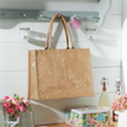 Shimmer Jute Shopper große Jutetasche Geschenktasche mit goldenen Partikeln im Baumwollstoff, bedruckt mit Werbung als Geschenktasche gut geeignetl