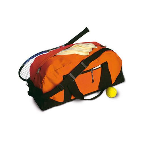 Sporttasche Nottingham Werbetasche, farbige Tasche mit schwarzem Boden und Tragegurten, zwei Tragegriffe und ein Schultergurt, seitlicher Reissverschluss