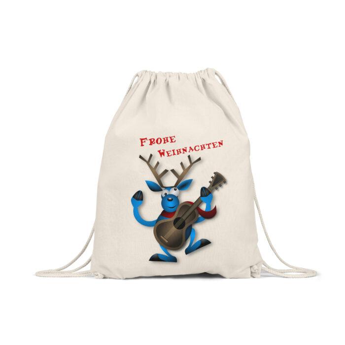 Weihnachtstasche Motiv Rentier mit Gitarre