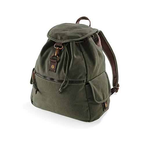 Vintage Canvas Backpack, Rucksack im used look, mit Überschlag, Karabinerverschluss, Seitentaschen Fronttasche mit Reißverschluss Reißverschluss-Tasche innen Gepolsterte, verstellbare Schultergurte