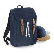 Vintage Rucksack von Quadra, mit weisser Zuziehkordel und braunen Lederschnallen am Taschenüberschlag