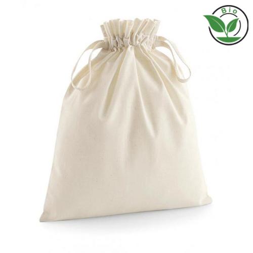 Organic Zuziehbeutel mit Logo bedrucken oder Werbemittel bei taschenprint.de von Westford Mill