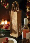 Jutetasche Shimmer Jute Bottle Bag Flaschentasche mit Glanzpartikel im Stoff für den Werbedruck geeignet