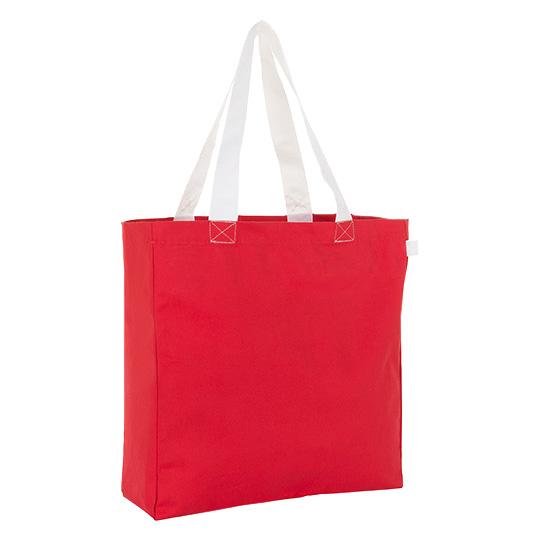 Canvastasche Shopping Bag Lenox, im Zweifarb-Design mit kräftigen Kontrastfarben, mit Seiten- und Bodenfalte für viel Volumen, Nähte und Seitenetikett in Henkelfarbe