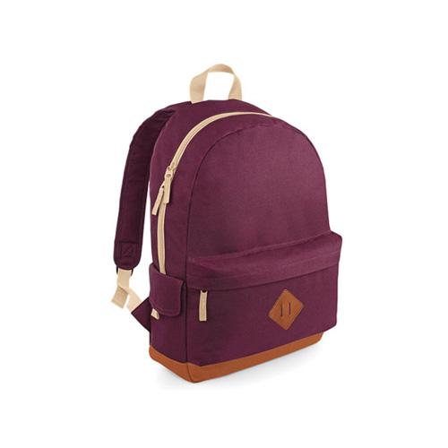 Retro BagBase Rucksack Heritage, Backpack mit gepolstertem Rückenteil und Schultergurten, mit Aussen- und Seitentaschen in 8 unterschiedlichen Farben bedruckt mit Logo als Werbeartikel bei taschenprint