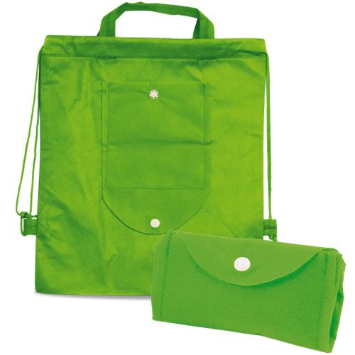 Kinder Turnbeutel Nomi PP-Non-Woven faltbar in grün zum Bedrucken mit Werbung