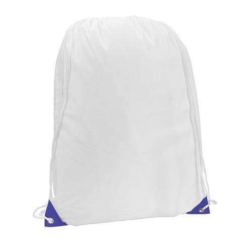 Turnbeutel Nofler Weiß Farbige Ecken in blau für vollfarbigen Druck geeignet