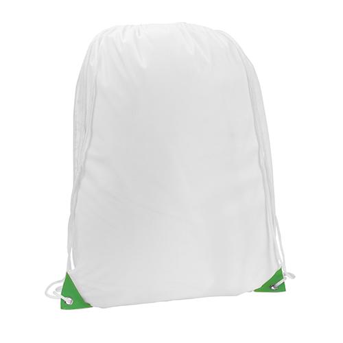 Turnbeutel Nofler Weiß Farbige Ecken in grün für vollfarbigen Druck geeignet