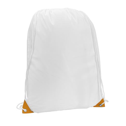 Turnbeutel Nofler Weiß Farbige Ecken in orange für vollfarbigen Druck bei taschenprint.de geeignet