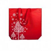 Weihnachtstasche PP Vliestasche Rot nicht laminierte geschenktasche bedruckte mit Weihnachtsmotiv - weißer Tannenbaum