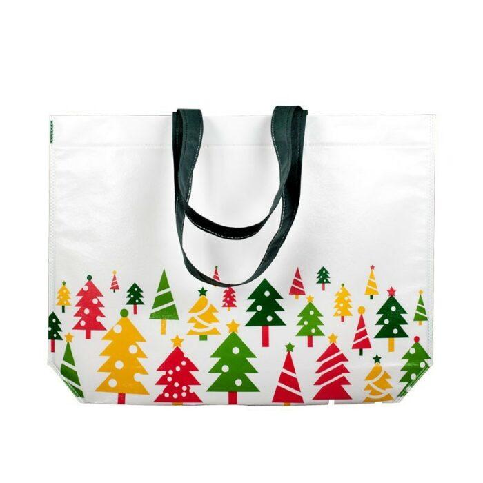 Weihnachtstasche Tannenbaum PP non woven laminiert glänzend mit Weihnachtsmotiv mit bunten Tannenbäumen bedruck, individueller Aufdruck möglich bei taschenprint.de