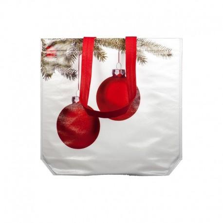 Weihnachtstasche Weihnachtskugeln PP Non Woven weiße laminierte Tasche mit Weihnachtsmotiv mit roten Weihnachtskugeln bei taschenprint.de