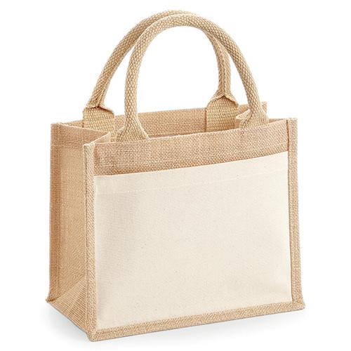 Cotton Pocket Jute Gift Bag Jutetasche WM425 von Westford Mill mit Werbung bedruckt bei taschenprint.de