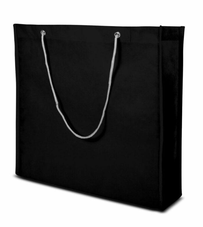 PP-Vliestasche Milano Non Woven Boutquetasche mit Kordelhenkeln schwarz