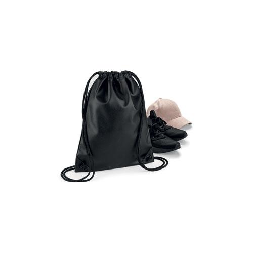Faux leather gymsack in Vollleder look black details