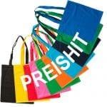 Baumwolltasche farbig PREISHIT in Standard- Farben zum Festpreis incl. aller Kosten bedrucken mit Logo oder Werbung, günstige Baumwolltasche, Werbeartikel von taschenprint