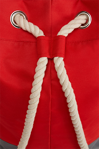 Rucksack Bonny Halfar 1809996 Backpack, formschöner, großer Rucksack in rot, Ansicht Kordel, mit dekorativen Ösen und Kordelträgern, bedruckt mit Logo als Werbeartikel bei taschenprint